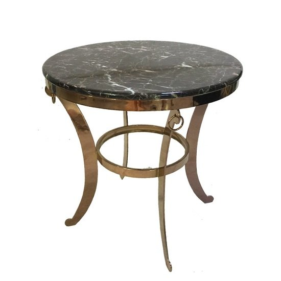 View Rialto marble coffee table round in dark with metal frame