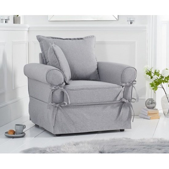 View Riggs linen armchair in grey with padded seat and back