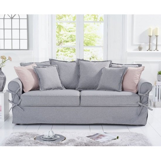Riggs Linen Three Seater Sofa In Grey With Padded Seat And Back 609 95 Go Furniture Co Uk