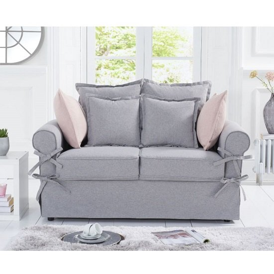 View Riggs linen two seater sofa in grey with padded seat and back