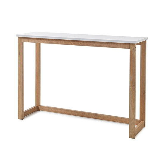 View Riverside wooden console table in matt white and oak