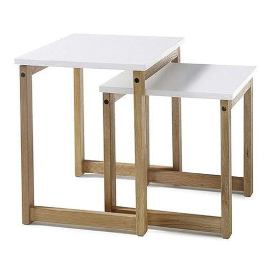 View Riverside wooden pair of coffee tables in matt white and oak