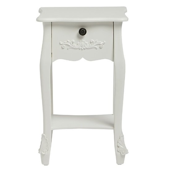 View Robena wooden bedside table in white with 1 drawer