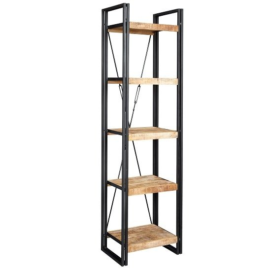 View Clio slim bookcase in reclaimed wood and metal frame
