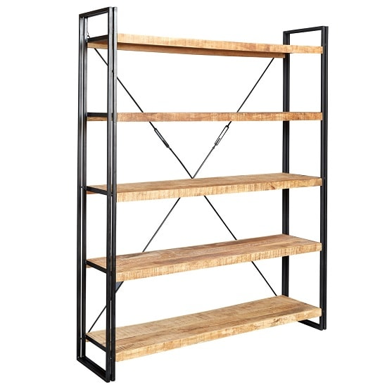 View Clio wide bookcase in reclaimed wood and metal frame