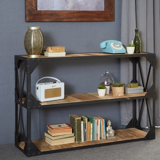 View Romarin low bookcase in reclaimed wood and metal frame