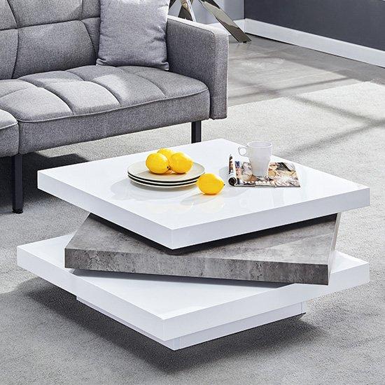 View Samora square coffee table in white gloss concrete effect