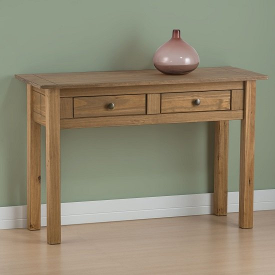 View Santiago console table in distressed pine with 2 drawer