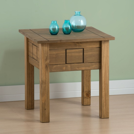 View Santiago wooden lamp table in distressed pine