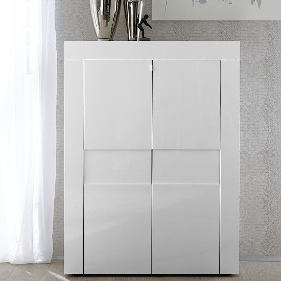 View Santino modern highboard in white high gloss with 2 doors
