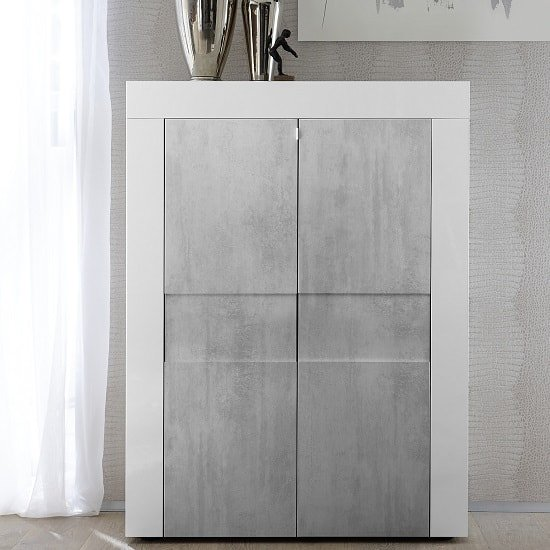 View Santino highboard in white high gloss and grey with 2 doors