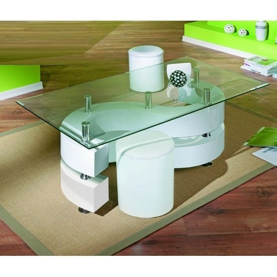 View Saphira glass top coffee table with gloss base and stools