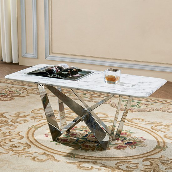 View Sardinia grey marble coffee table with steel legs