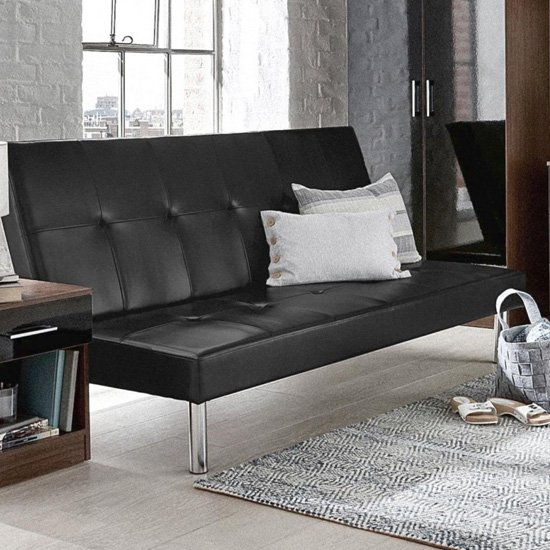 View Seattle faux leather sofa bed in black
