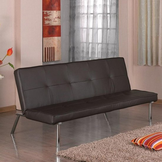 View Seattle faux leather sofa bed in brown