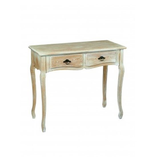 View Senegal wooden console table in oak with 2 drawers