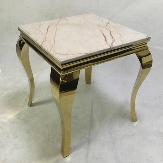 View Serena marble coffee table square in white with metal frame