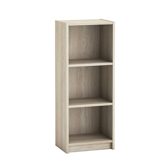 View Sharatan narrow wooden bookcase in shannon oak with 2 shelves