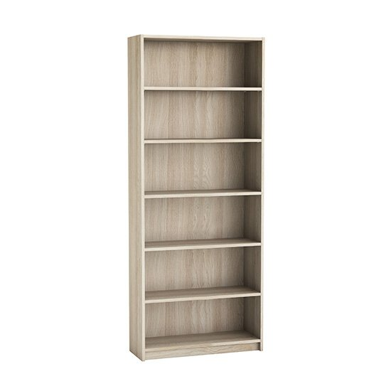 View Sharatan tall wooden bookcase in shannon oak with 5 shelves