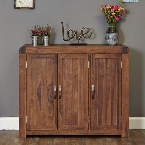 View Shiva large wooden shoe storage cabinet in walnut