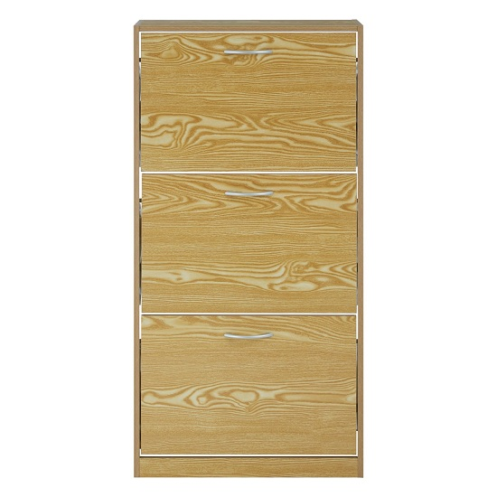 View Megrez shoe cabinet in brown with three flip doors