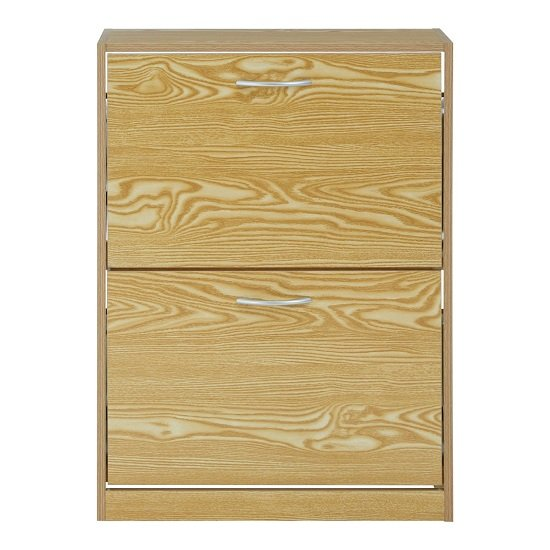 View Megrez shoe cabinet in brown with two flip doors