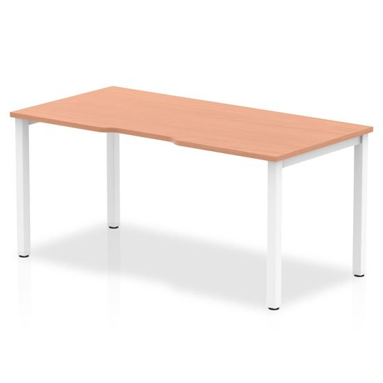 View Single small laptop desk in beech with white frame