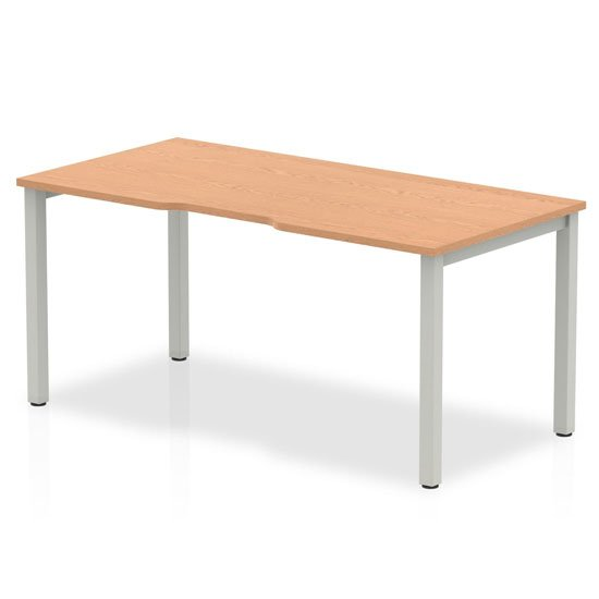 View Single small laptop desk in oak with silver frame