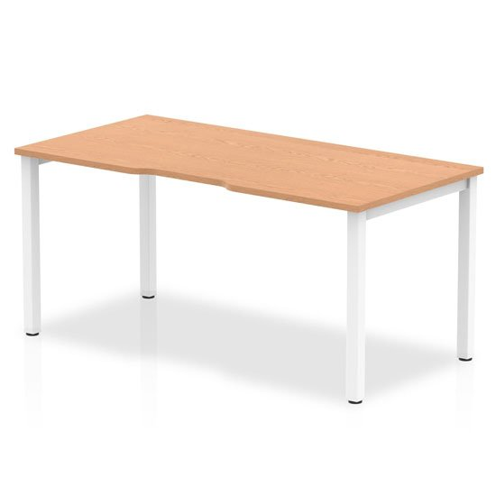View Single small laptop desk in oak with white frame