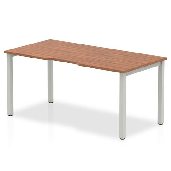 View Single small laptop desk in walnut with silver frame