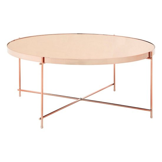 View Sirius mirrored coffee table in pink and metal frame