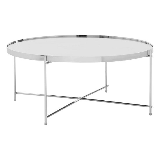 View Sirius mirrored coffee table round in silver and metal frame