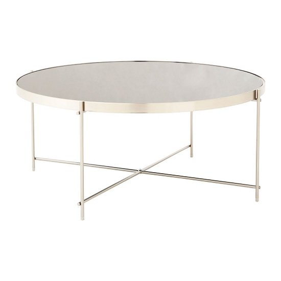 View Sirius mirrored coffee table in grey and metal frame