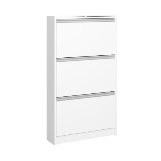 View Skyline shoe storage cabinet in white with 3 drawers