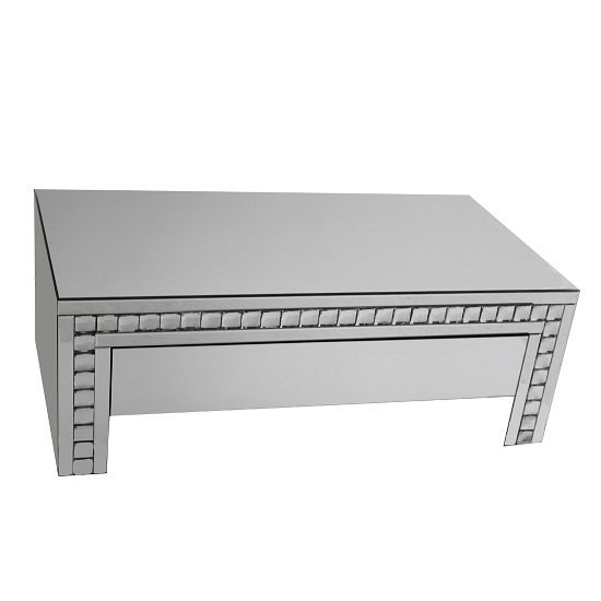 View Solano mirrored glass coffee table with 1 drawer