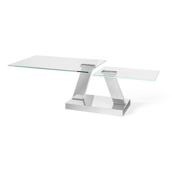View Sparta swivel extending glass coffee table polished steel base