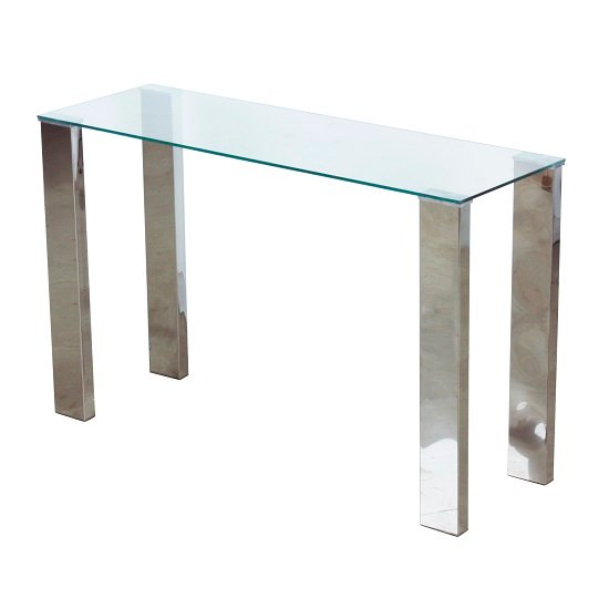 View Splash console table rectangular in clear glass with chrome legs