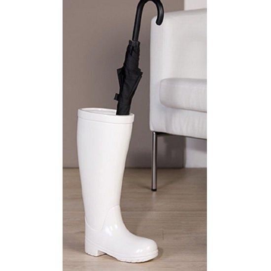 View Stiefel rain boot ceramic umbrella stand in white