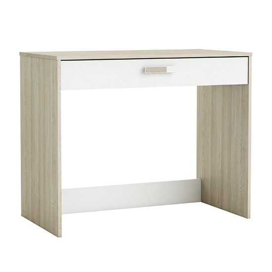 View Swatch wooden computer desk in shannon oak and pearl white
