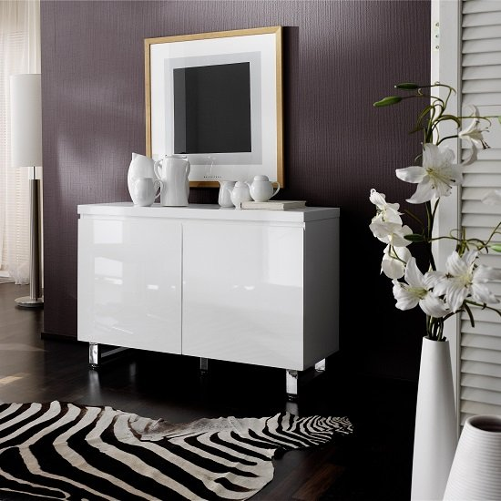 View Sydney small sideboard in high gloss white with 2 doors