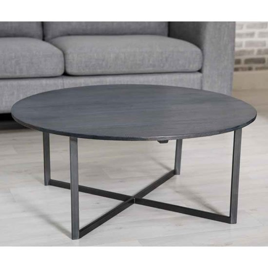 View Tate wooden round coffee table in grey with steel frame
