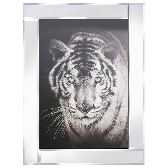 View Tiger head modern glass wall art on mirror frame