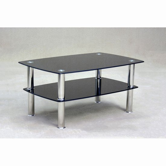 View Pearl black glass coffee table with undershelf