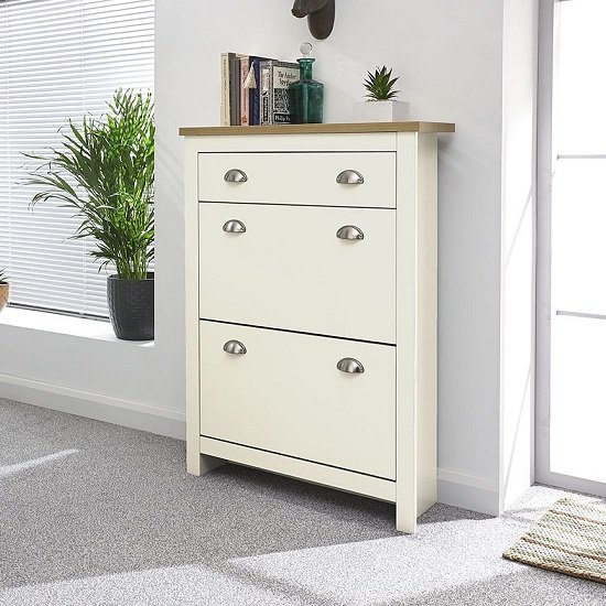 View Valencia shoe storage cabinet in cream with oak effect top