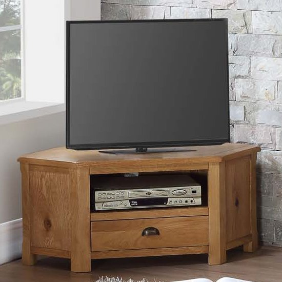 View Trevino corner tv unit in oak with 1 drawer