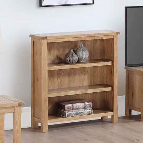 View Trevino low bookcase in oak with 2 shelves