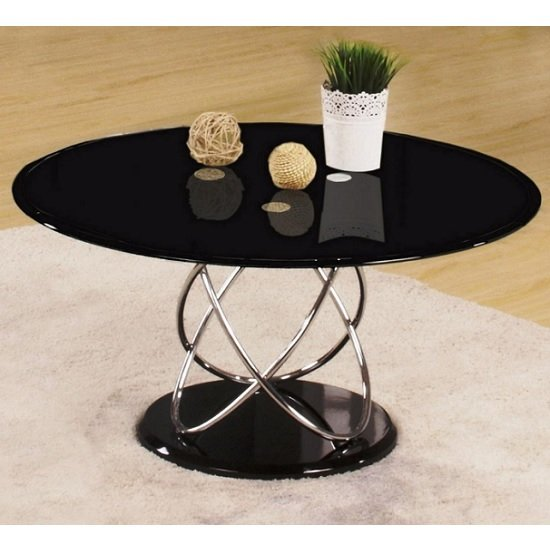 View Trias glass coffee table round in black and gloss base