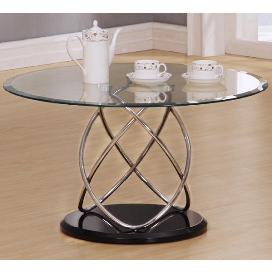 View Trias glass coffee table round in clear with black gloss base