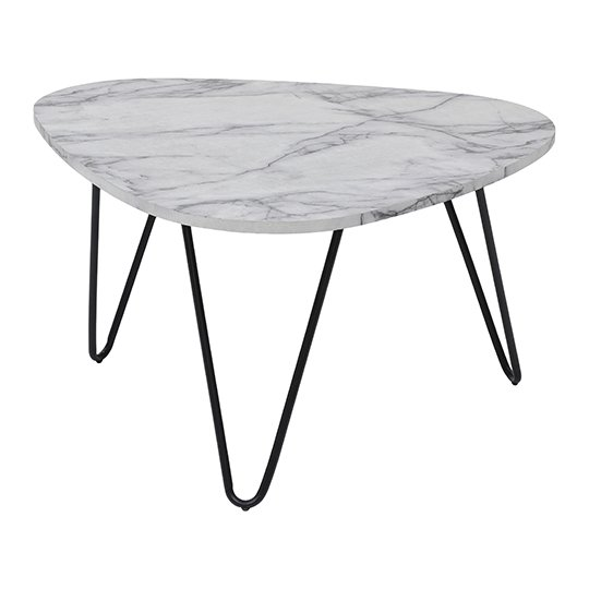 View Trieste coffee table in marble effect with black legs