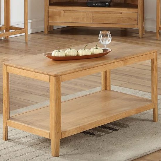 View Trimble coffee table in oak with shelf